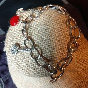 Red apple princess charm bracelet fairytale key